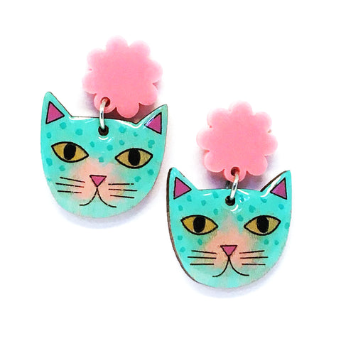 Rainbow Cat · Turquoise + Light Pink