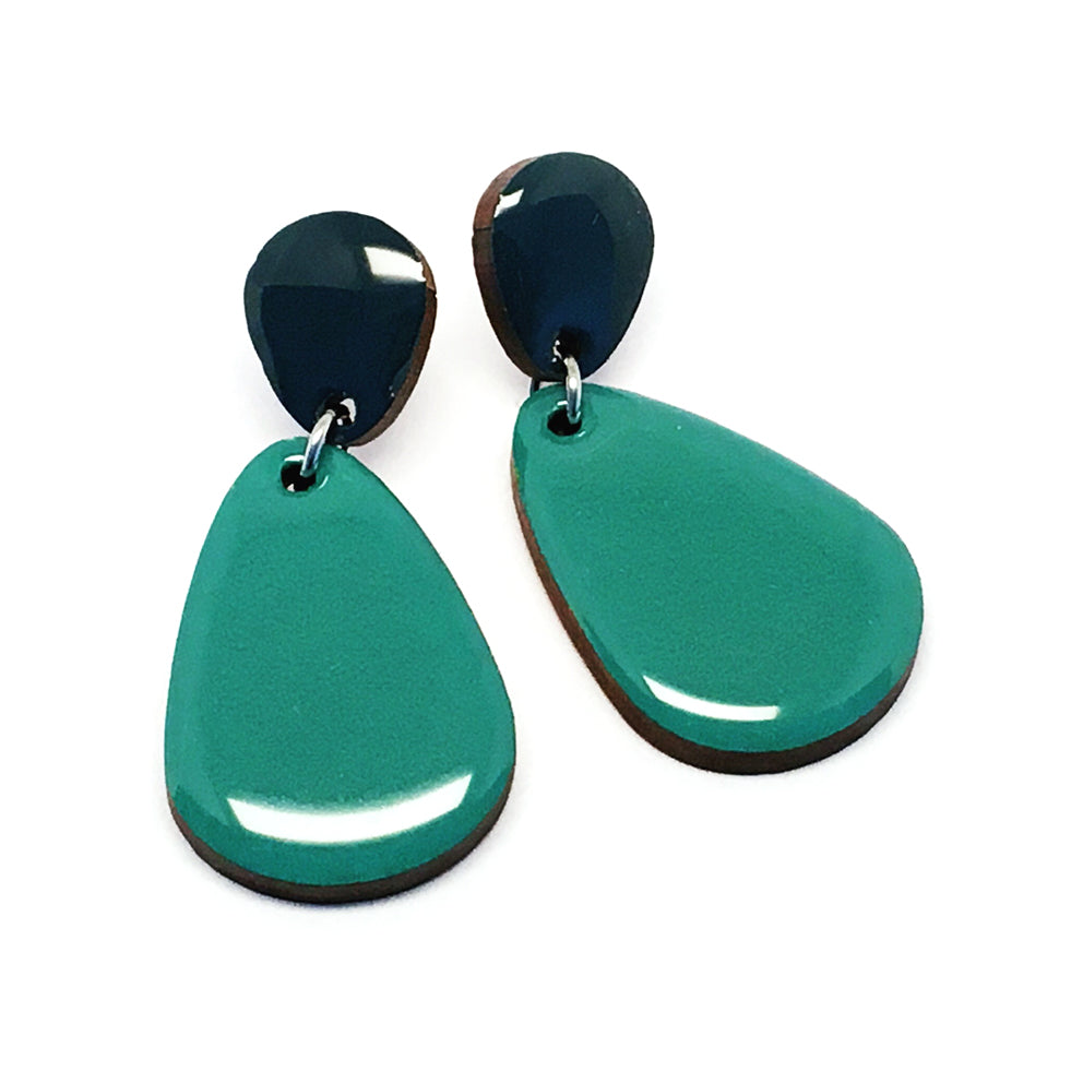 Pebble Dangles  · Raindrop · Teal + Mineral Blue