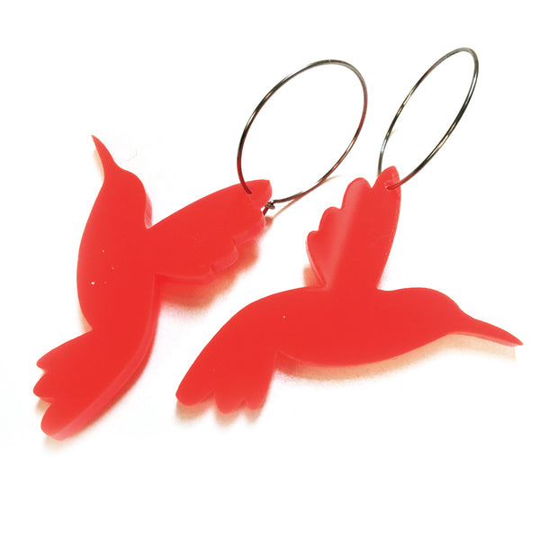 Hummingbird Hoop · Neon Red