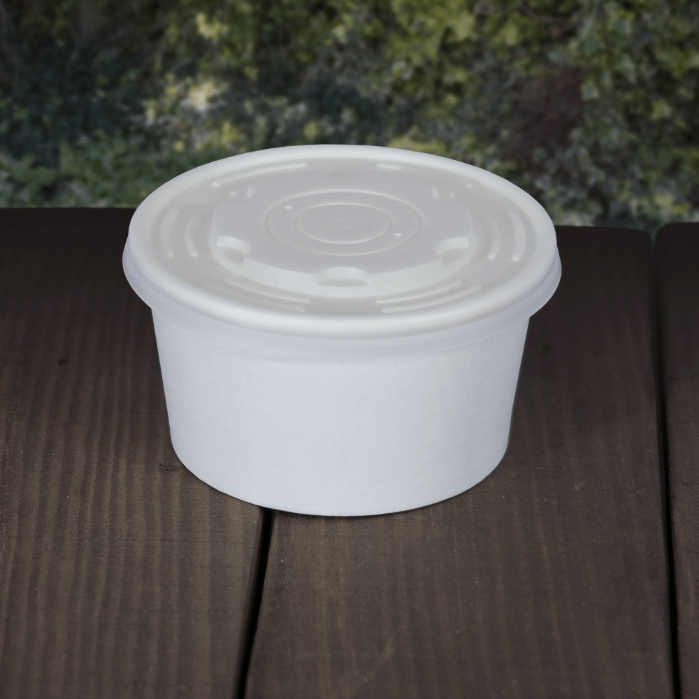 White Deli/Soup Pot Lids - PLA - Compostable - NaturePac