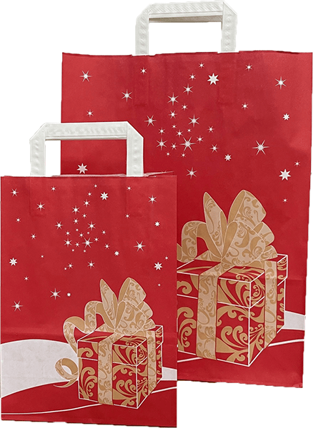 Paper Christmas Carrier Bags - Recyclable & Compostable - Evolution Packaging Products