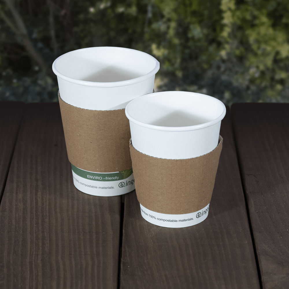 Sleeves for Single Wall Cups - Kraft - Recyclable & Compostable - NaturePac