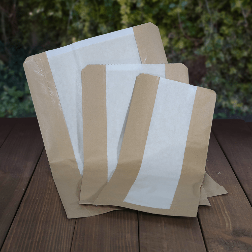Brown Paper Bags with Glassine Window - Recyclable & Compostable - Evolution Packaging Products