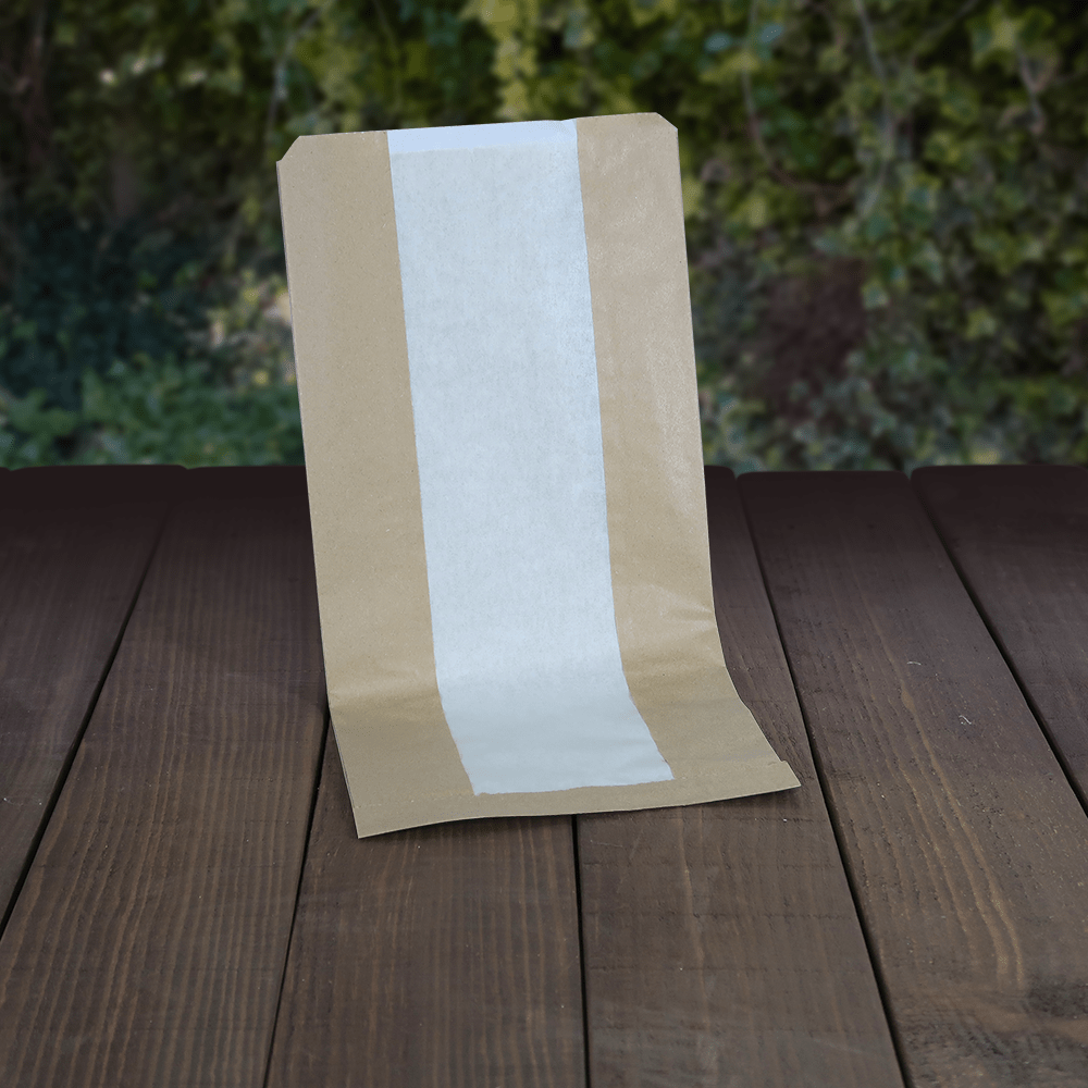 Brown Paper Bags with Glassine Window - Compostable