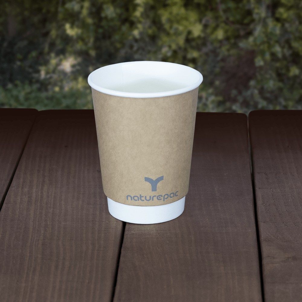 Plastic Free - Double Wall Cups - Brown - Recyclable & Compostable