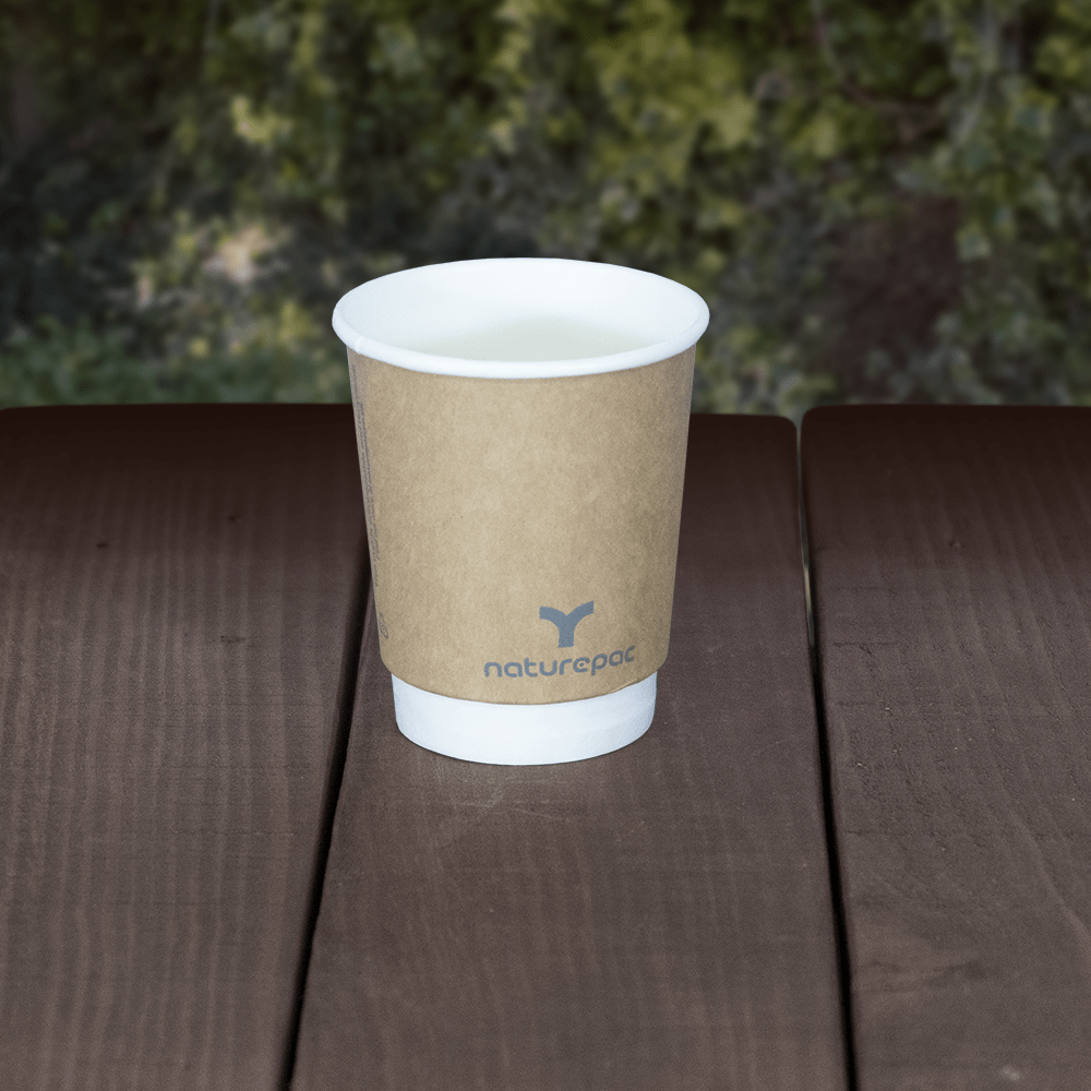 Plastic Free - Double Wall Cups - Brown - Recyclable & Compostable - NaturePac