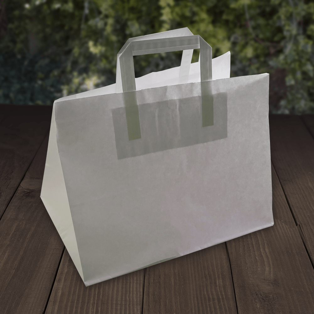 Carrier Bags - White Kraft Paper - Recyclable - Evolution Packaging Products