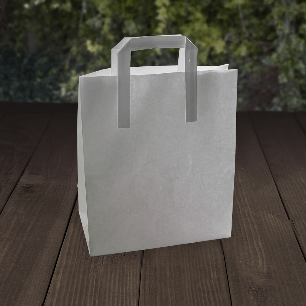 White Paper Carrier Bags with Tape Handles - Recyclable and Compostable - Naturepac