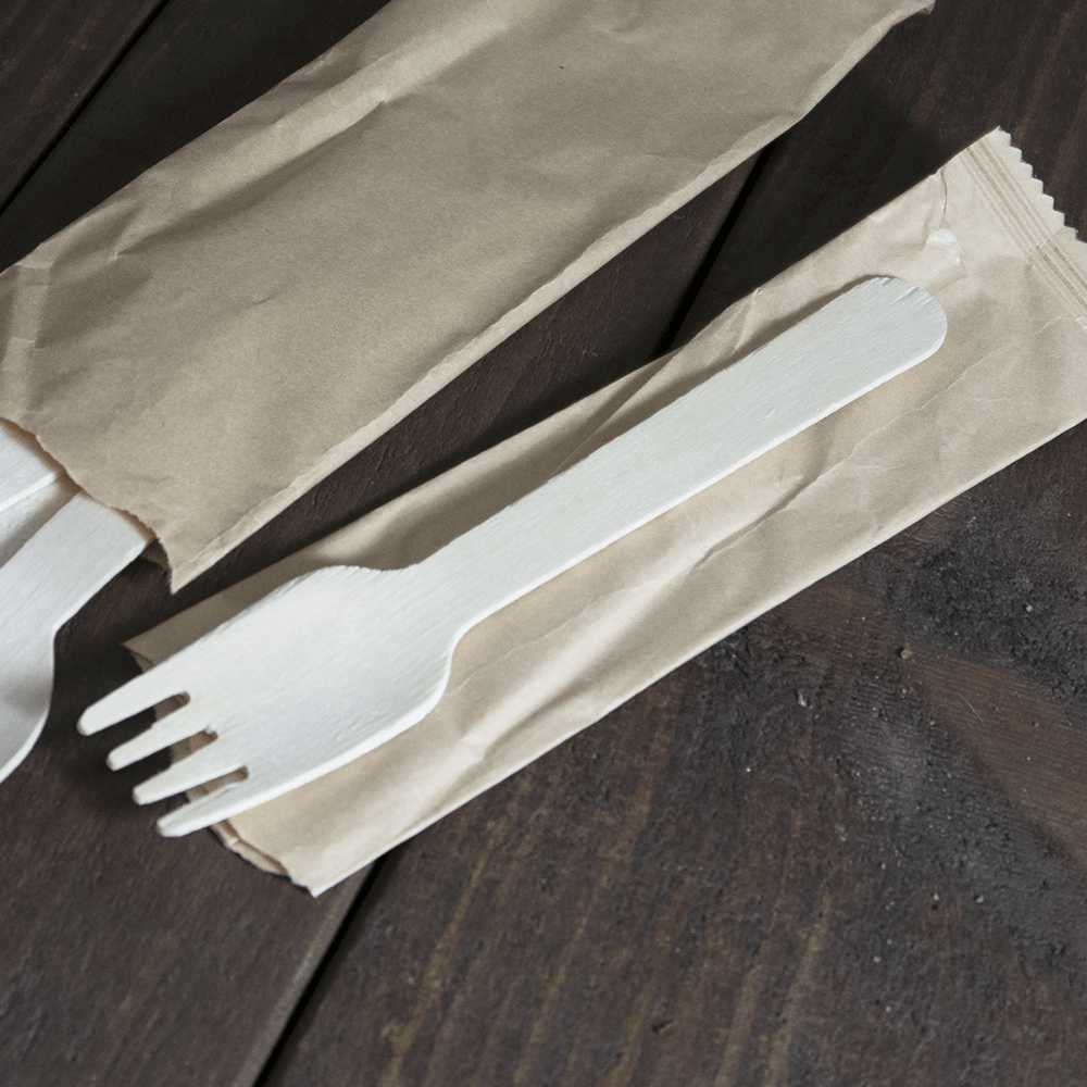 Paper Wrapped Wooden Cutlery - Compostable