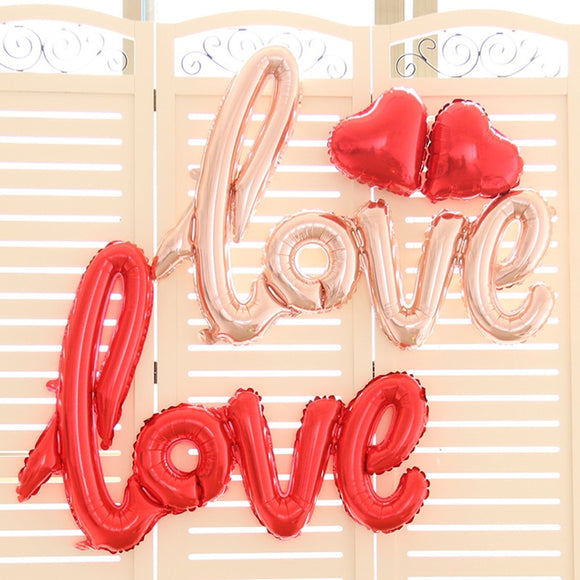 Foil Balloons LOVE Siamesed red heart Ballon Wedding Decoration Valentine's Day