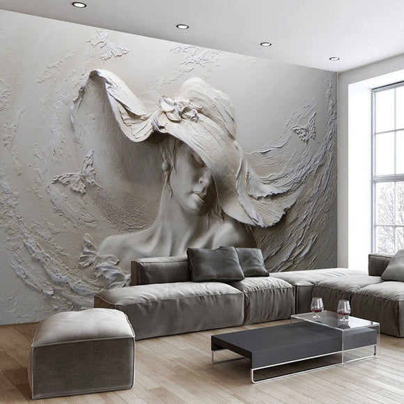 3D Stereoscopic Embossed Gray Beauty Oil Painting Wallpaper