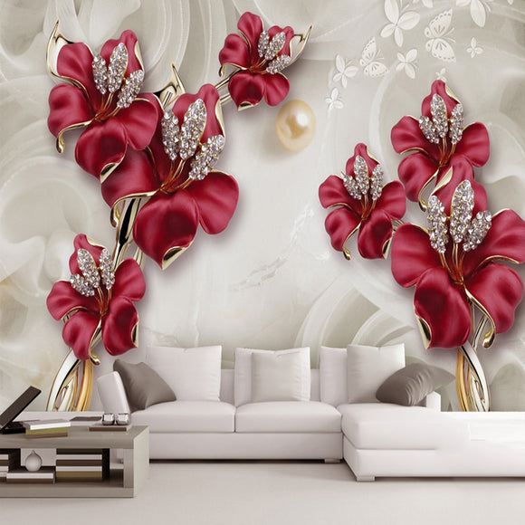 Custom 3D Photo Wallpaper Beautiful Stereo Jewelry Flower