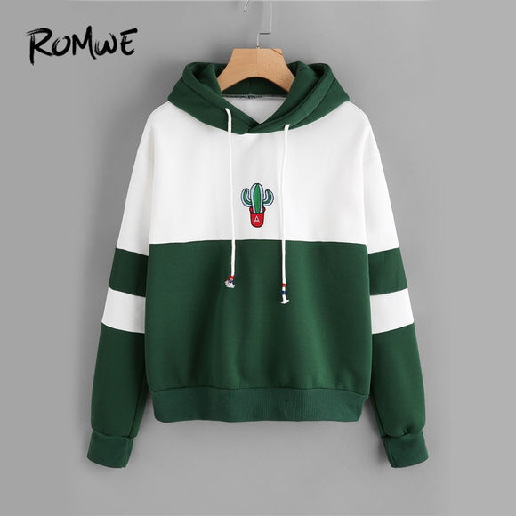 ROMWE Drawstring Long Sleeve Ladies Sweatshirt