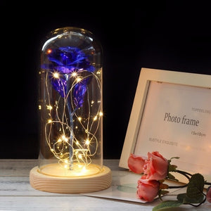 LED Gold Rose In Glass Dome Beauty And The Beast Red Rose Decorative Flowers Wreaths