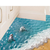 3D Dolphin Floor Stickers Beautiful Sea Cute Waterproof
