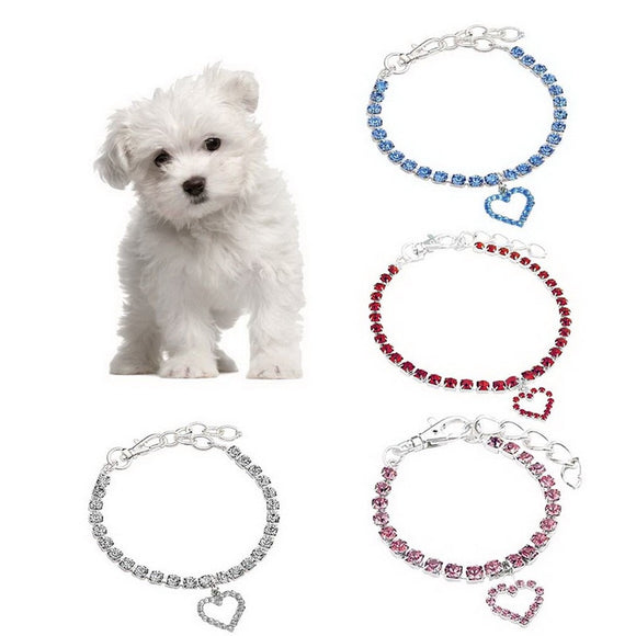 Dog Collar With Shine Crystals Heart Charm Collars For Dogs
