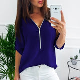 Women Short Sleeve Zipper Shirt