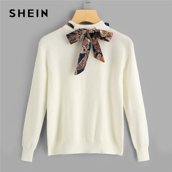 Tie Neck Stand Collar Solid Casual Women Sweater