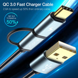 2 in 1 USB Cable Quick Charge 3.0 Micro USB Type C Cable
