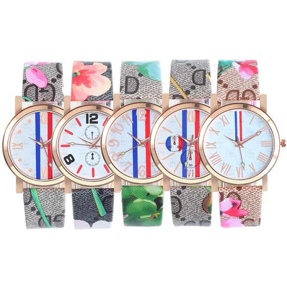 Women Dress Watch Flower Printed
