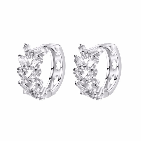 elegant silver color full cubic crystal hoop earrings valentine day gifts