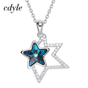 Cdyle Crystals from Swarovski Necklace Pendant Blue Star Shaped Valentine's Day Gifts