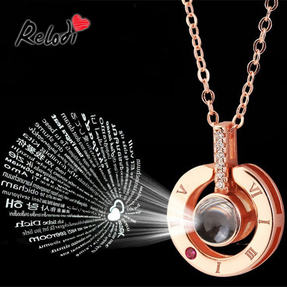 Relodi 100 Language I Love You Necklace Charm Valentines Day Gift