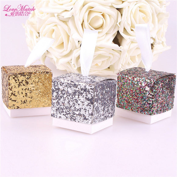 Glitter Paper Gift Box Candy Box Wedding Supplies Paper Chocolate Box With