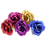 24K Gold Foil Flower Artificial Rose Valentine Day Romantic Gift
