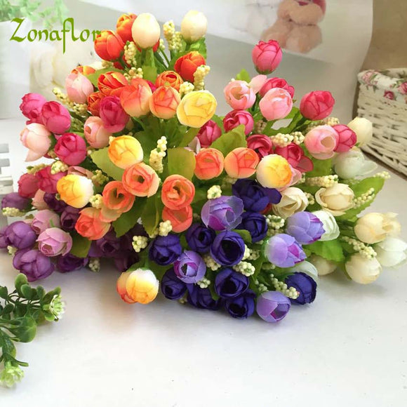 Zonaflor Artificial Flower Rose Bud Silk Home Decoration Fake Flower Valentines Day Gift