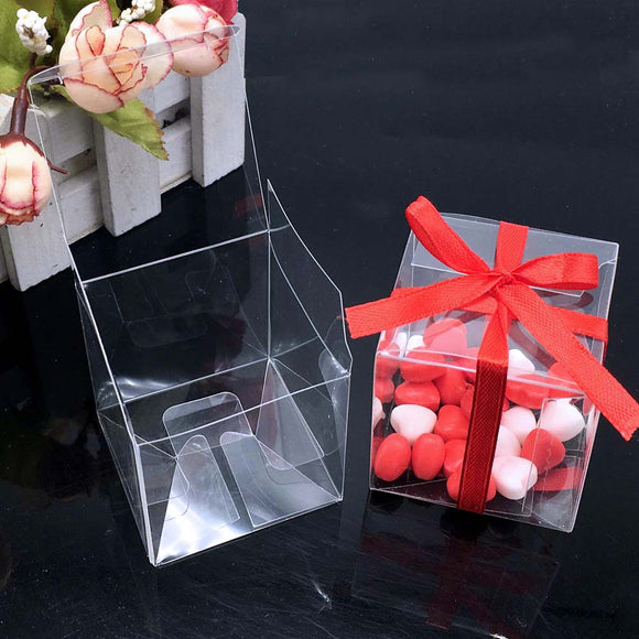 lot Clear Square Wedding Favor Gift Box Transparent Party Candy Bag