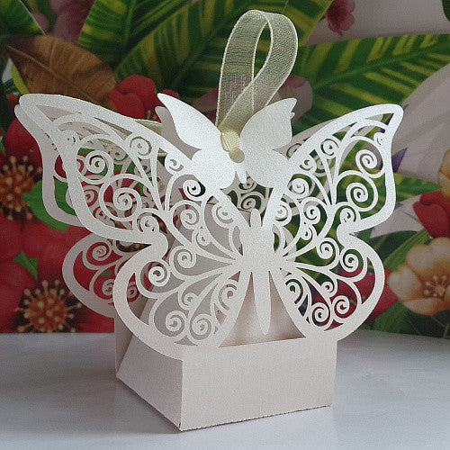 White Butterfly Laser Wedding Candy Boxes Chocolate box Favour Box With Ribbon