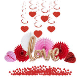 Valentines Day Decor With Heart Shape Hanging Swirls Love Foil Balloon Paper