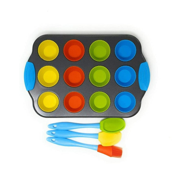 Buy Kids Cupcake Baking Set Non Stick Tray 12 Reusable Silicone Cases 3 Utensills from Steal A Deal