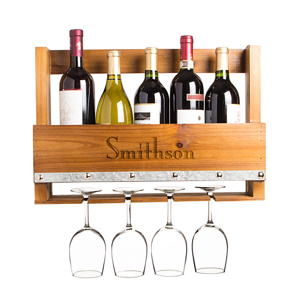 Personalized Rustic Wall Mounted Wine Rack - FriendsWhoDrink