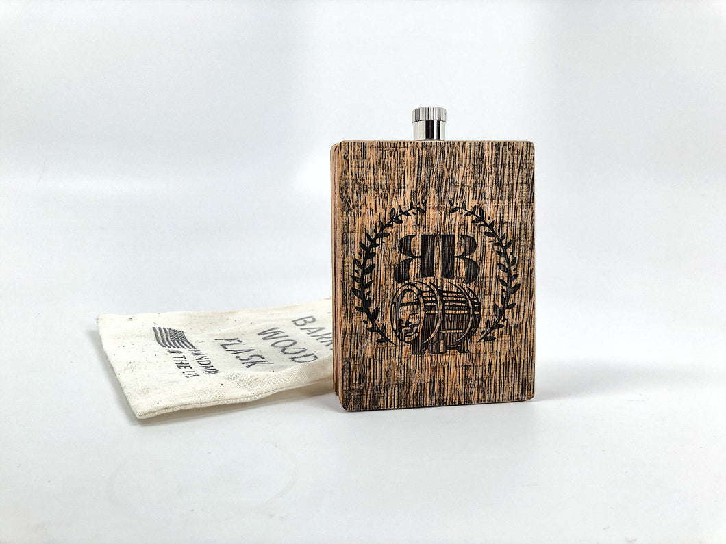 Bourbon Barrel Wood & Buffalo Hide Flask - FriendsWhoDrink