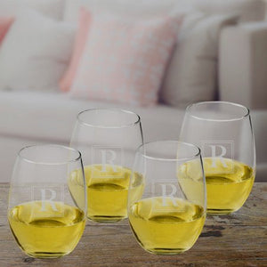 Personalized Initial Stemless Wine Glasses Set - FriendsWhoDrink