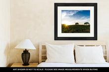 Load image into Gallery viewer, Framed Print, Sun Flare At Sunset Over A Sonoma California Vineyard Sunset In California Wine - FriendsWhoDrink