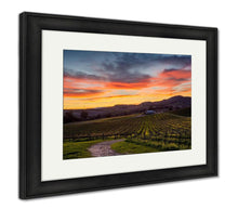 Load image into Gallery viewer, Framed Print, Colorful Sunset Over A Napa California Vineyard Spectrum Of Colors Over Napa - FriendsWhoDrink