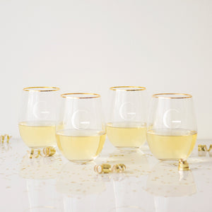 Personalized Gold Rim Stemless Wine Glasses - FriendsWhoDrink