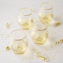 Load image into Gallery viewer, Personalized Gold Rim Stemless Wine Glasses - FriendsWhoDrink