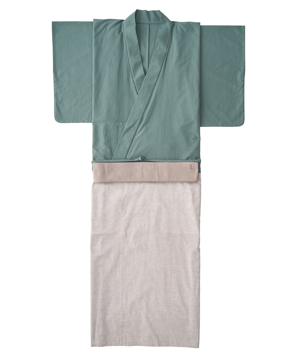 WAROBE / BI-COLOR YUKATA / GREEN x BEIGE