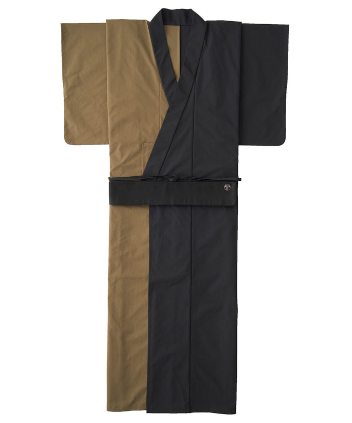 WAROBE / MULTI-COLOR YUKATA / KHAKI x BLACK