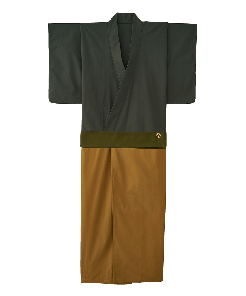 WAROBE / BI-COLOR YUKATA / GREEN x CAMEL
