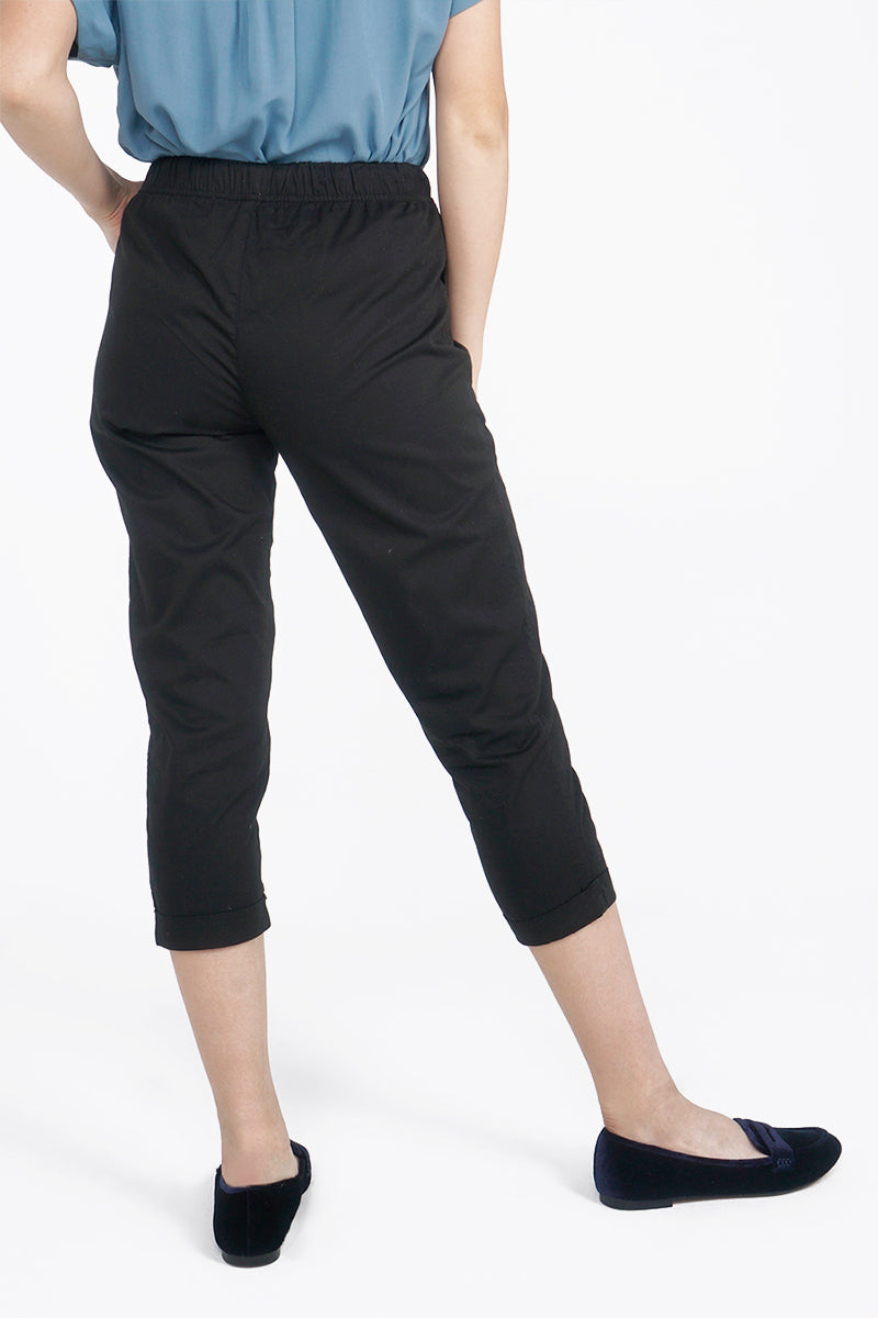 Mid Waist Trousers With Elastic Waistband