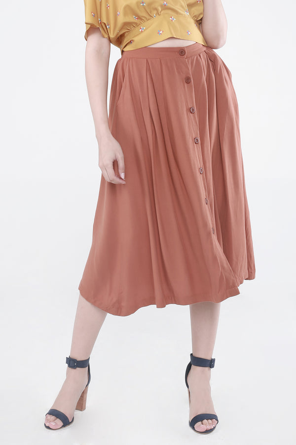 Midi Skirt with Button Front Detail