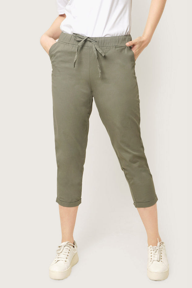 Closet Staples Mid Waist Trousers With Elastic Waistband
