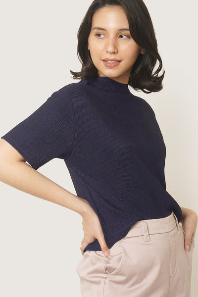 Mock Neck Crinkled Knit Top
