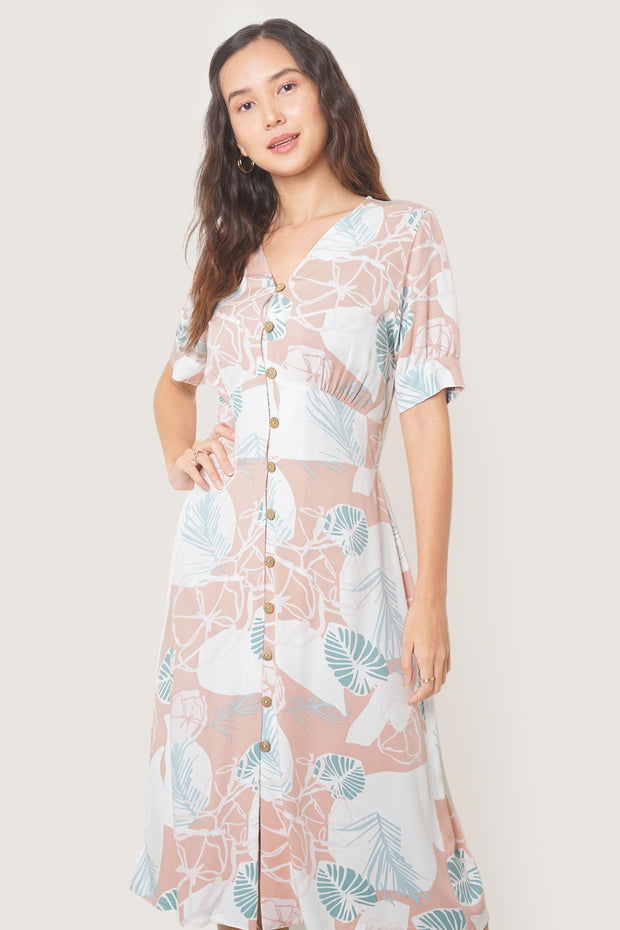 Midi Fit & Flare Dress With All-Over Print