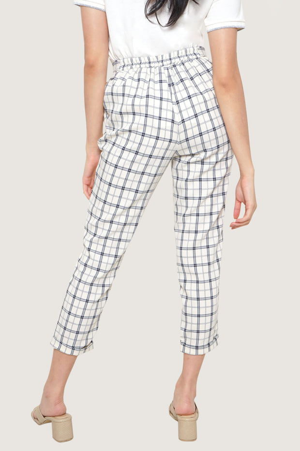 Checked Pull Up Trousers With Tie